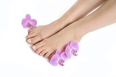 Mooie voeten met perfecte Franse kuuroordpedicure stock afbeelding
