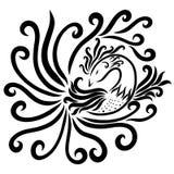 Mooie vogel met een prachtige staart, een patroon en een bosje vector illustratie