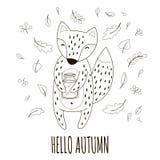 Mooie vos met de kruik jam in haar poten De herfst van Hello van de handschriftinschrijving Vector illustratie Royalty-vrije Stock Foto's