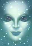 Mooie vreemde dichte omhooggaand van het vrouwengezicht Stock Fotografie