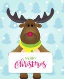 Mooie Vrolijke Kerstkaart met Gelukkig Beeldverhaalrendier in een de winterbos royalty-vrije stock foto