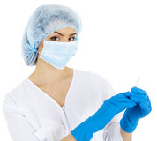 Mooie vrouw arts met een spuit Stock Foto