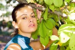 Mooie vrouw bij de kastanje Stock Fotografie