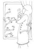 Mooie vrouw bij het venster Royalty-vrije Illustratie