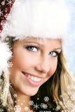 Mooie vrouw bij Kerstmis Royalty-vrije Stock Fotografie