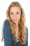 Mooie Vrouw in Blauw Royalty-vrije Stock Foto's