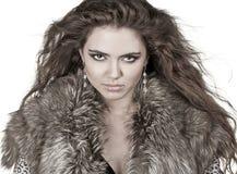 Mooie vrouw in bontjas, manierdame, Royalty-vrije Stock Afbeelding