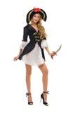 Mooie vrouw in Carnaval kostuum. De vorm van de piraat Stock Afbeelding