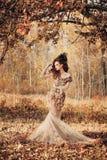 Mooie vrouw in de herfstbos Stock Fotografie