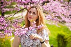 Mooie vrouw in de lentebloesem stock afbeelding