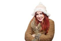 Mooie vrouw in de winterkleren Stock Foto's