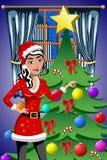 Mooie Vrouw die de Ballen van de Kerstmisboom verfraaien Stock Afbeelding