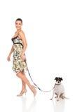Het lopen van de vrouw hond Stock Afbeeldingen