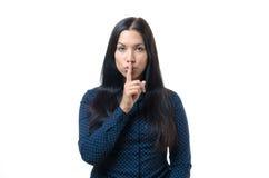 Mooie vrouw die een doen zwijgend gebaar maken royalty-vrije stock afbeelding