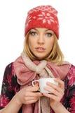 Mooie vrouw die een kop van koffie houdt, Royalty-vrije Stock Fotografie
