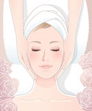 Mooie vrouw die gezichtsmassage ontvangen vector illustratie