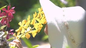 Mooie vrouw die in hoed bloemen van aroma van de bloeiende orchideeën in de zomertuin genieten Meisje het snuiven geur van bloeie stock video