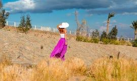 Mooie vrouw die hoed en roze rok dragen Stock Afbeeldingen
