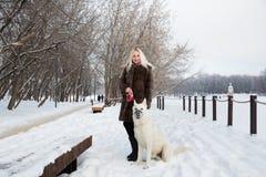 Mooie vrouw die met Witte Zwitserse herdershond lopen in de winter stock foto's