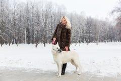 Mooie vrouw die met Witte Zwitserse herdershond lopen in de winter stock fotografie