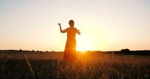 Mooie vrouw die op middelbare leeftijd op een gebied bij zonsondergang in langzame motie dansen stock videobeelden