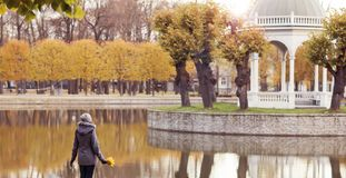 Mooie vrouw die in park loopt Meisje over seizoengebonden de herfstachtergrond Royalty-vrije Stock Afbeelding