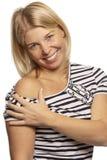 Mooie vrouw die seksueel naakte schouder glimlachen stock afbeeldingen