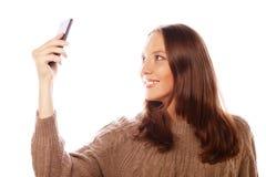 Mooie vrouw die selfies nemen Stock Foto