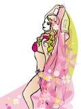 Mooie vrouw die in sjaal dansen Royalty-vrije Illustratie