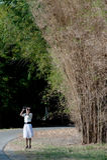 Mooie vrouw die uit met verrekijkers birding. stock afbeeldingen
