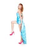 Mooie vrouw in een blauwe kleding en rode schoenen Stock Foto's