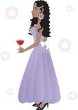 Mooie vrouw in een lange kleding royalty-vrije illustratie