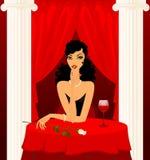 Mooie vrouw in een restaurant stock illustratie