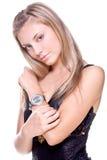 Mooie vrouw in een zwarte kleding Royalty-vrije Stock Fotografie