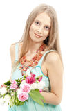 Mooie vrouw in elegante sundress Stock Foto