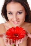 Mooie vrouw en bloem Stock Afbeeldingen