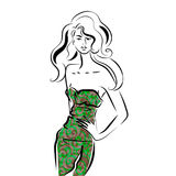 Mooie vrouw in gedrukt kledingsportret Royalty-vrije Stock Afbeeldingen