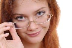 Mooie vrouw in glazen Royalty-vrije Stock Fotografie