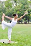 Mooie vrouw het praktizeren yoga in het park Stock Foto