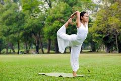 Mooie vrouw het praktizeren yoga in het park Stock Foto's
