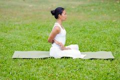 Mooie vrouw het praktizeren yoga in het park Royalty-vrije Stock Fotografie