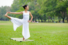 Mooie vrouw het praktizeren yoga in het park Royalty-vrije Stock Foto