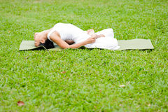 Mooie vrouw het praktizeren yoga in het park Royalty-vrije Stock Foto's