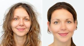 Mooie vrouw before and after het toepassen van samenstelling en het hairstyling stock fotografie