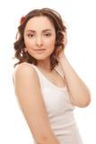 Mooie vrouw in het witte vest glimlachen royalty-vrije stock foto's