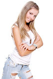 Mooie vrouw in jeans met hondmarkering Royalty-vrije Stock Foto
