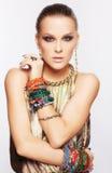 Mooie vrouw in juwelen Royalty-vrije Stock Afbeelding