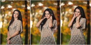 Mooie vrouw in kantblouse het stellen in herfstpark Jonge donkerbruine vrouw het besteden tijd in bos tijdens dalingsseizoen Stock Afbeeldingen