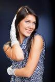 Mooie vrouw in kleding en handschoenen Royalty-vrije Stock Foto