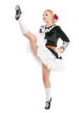 Mooie vrouw in kleding voor Ierse omhoog geïsoleerde dans met been royalty-vrije stock fotografie